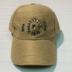 Claire's gold and silver rhinestone baseball cap.